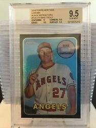 2018 Topps Heritage Chrome-black Refractor-mike Trout--/69--bgs 9.5 Gem Mint