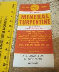 Old Shell Oil Co Mineral Turpentine Bottle Label Nos