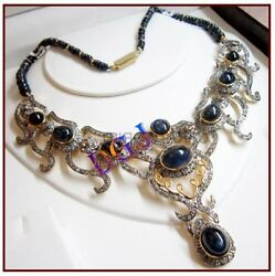 925 Sterling Silver Rose Cut Sapphire Diamond Necklace Victorian Look Jewelry