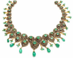 925 Sterling Silver Diamond Emerald Necklace Rose Cut Victorian Style Jewelry