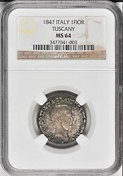 Italy / Italian States Tuscany 1847 1 Fiorino Silver Coin Ngc Certified Ms64