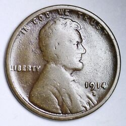 1914-d Lincoln Wheat Cent Penny Choice Vg Free Shipping E149 Xcnq