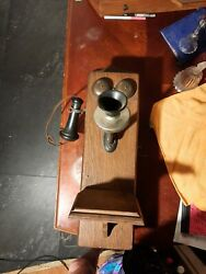 Antique Wall Mount Hand Crank Telephone ..told it is a Stearling see descriptio