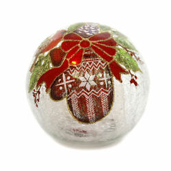 Christmas Glass Ball With Mitten Med Glass Led Lighted Cardinal 53537c2