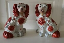 Vintage Pair English Staffordshire Style 12quot; Spaniel Fox Hunt Hound Mantle Dogs