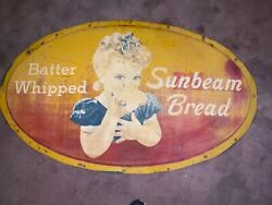 """Vintage Sunbeam Bread Con-vexed 53""""x32"""" Advertising Tin Sign With Great Graphics"""