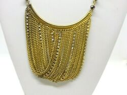 SMOKEY FACETED BEAD CRISS CROSS GOLD TONE WHITE RHINESTONE CHAIN NECKLACE 8
