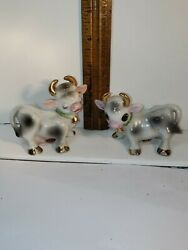 Vintage Bull and Cow Salt And Pepper Shakers bells gold accents Made in Japan