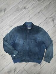 Seraphin Hermandegraves Maker Blue Suede Leather Bomber Jacket Size 56 Made In France