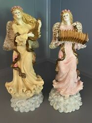 """Angels Playing Musical Instruments Harp amp; Accordion Resin Figurines 10"""""""
