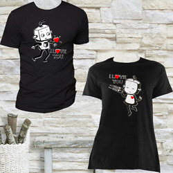 NEW I LOVE YOU ROBOTS COUPLE MATCHING VALENTINE#x27;S DAY CREW NECK T SHIRT