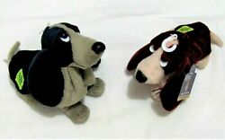 Pair of 2 APPLAUSE HUSH PUPPIES Basset Hound Special Edition Bean Bags NWT