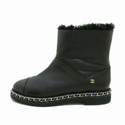 Short Boots Chain Coco Mark Silver Metal Fittings Black Mouton