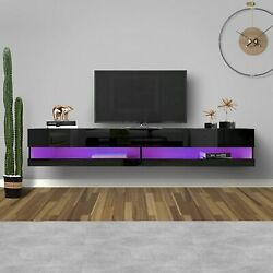 71 Tv Stand Wall Mounted Floating High Gross Tv Consoles,20 Color Led Hanging