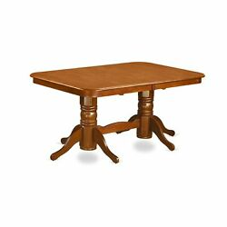 Napo7-sbr-w 7 Pc Formal Dining Room Set Table With Leaf And 6 Dining Chairs.