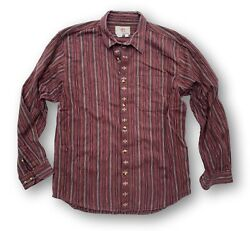 Vintage 90and039s The Territory Ahead Menand039s Xl Aztec Stripe Burgundy Maroon Tan Shirt