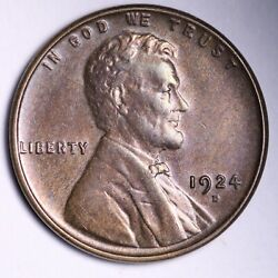 1924-d Lincoln Wheat Cent Penny Choice Bu Uncirculated Ms Free S/h E727 Zfwx