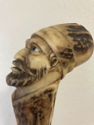 Antique Hand Carved Horn Stag Walking Stick Cane Man Beard Glass Eyes Detailed