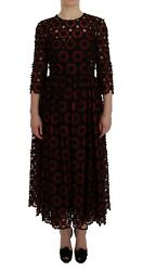 Dolce Andamp Gabbana Red Floral Ricamo A-line Shift Dress