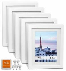 Cavepop 5x7 White Picture Frames 5-sets Made To Display 6.25x8.25andrdquo Ivory Color