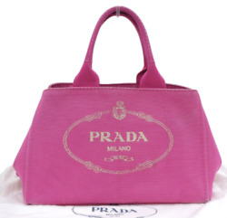 PRADA Canapa BN1877 Logo Plate Hand Bag Tote Bag Canvas Pink Auth From JAPAN $288.00