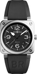 Brand New Bell And Ross Instruments Br 03-92 Steel Menand039s Watch Br0392-blc-st