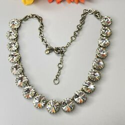 """Signed J.crew J Crew Clear Rhinestone Bling Necklace Antiqued Brass Tone 20"""""""