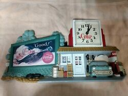 Vintage 1990 Burwood Coca-cola Gas Station Clock Route 66 Mint Condition Working