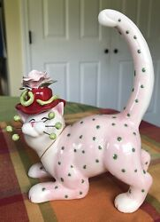 2004 Amy Lacombe Whimsiclay Cat Rose Pink With Green Polka Dots,13026