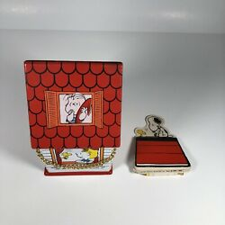 Vintage Peanuts Snoopy Butterfly Originals Vinyl House Chain Purse W/ Notepad