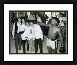 Muhammad Ali Signed 16x20 W/ The Beatles Photo Signed In Blue Psa/dna Certified