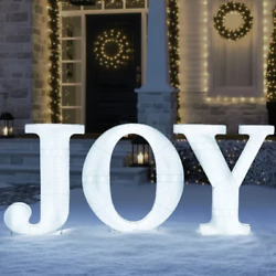Christmas Pre-lit Joy Sign Cool White Led Outdoor Indoor Decoration 32 H