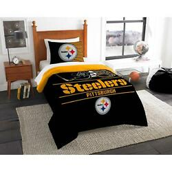 Nfl Pittsburgh Steelers Draft Twin Size Soft Cozy Bedding Comforter Set New