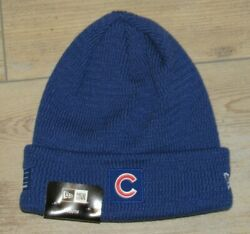 Chicago Cubs New Era On-field Cuffed Lined Winter Knit Hat Cap Size Youth