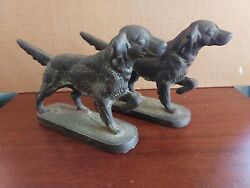 Pair Antique Patinated Cast Iron Setter Dog Bookends Littco Heavy Bin Obo Fs