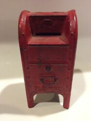 Vintage Cast Iron Us Mail Box Coin Bank Red