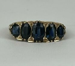 Antique Georgian 9kt Yellow Gold And Blue Sapphire Ring Hallmarked London 1822
