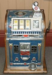 Old Antique Mills 5c Cent Owl Front Operator Bell 3 Reel Slot Machine Works