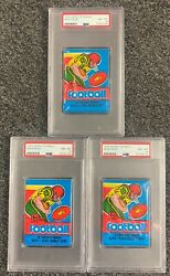 3 1979 Topps Football Unopened Wax Pack Psa 8 Lot