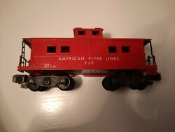 Vintage Rare American Flyer Lines 938 Red Cabin Caboose Ac Gilbert L 7 H 2.75