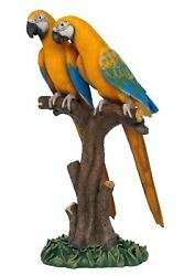 Yellow Blue Mutation Macaw Lover Parrots On Branch Life Size Statue