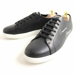 Emporio Armani X4x261 Logo Leather Low-cut Sneakers Black Us10 Tagged Mens A5165