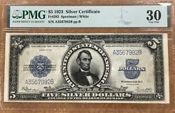 1923 5 United States Silver Certificate Pmg Vf 30 Port Hole Lincoln