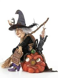 Winona Witch With Broom And Cat Table -16 In Height -by Katherine's Collection