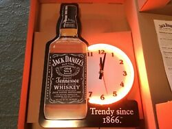 Jack Daniels Old 7 Tennessee Whiskey Bottle Shape Tin Sign Neon Clock Mib Works