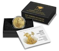 American Eagle 2021 One Ounce Gold Uncirculated Coin 21ehn In Hand