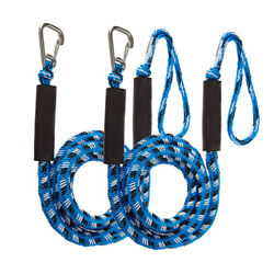 2 Pcs Blue Boat Bungee Dock Lines Bungee Cords Docking Rope Stretches 4-5.5ft
