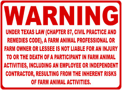 Warning Texas Farm Liability Sign. Size Options. Chapter 87 Civil Remedies Code