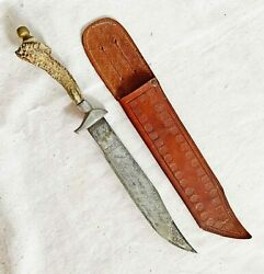 Antique Bowie Style Hunting Knife Antler Handle Double Sided Incised Blade