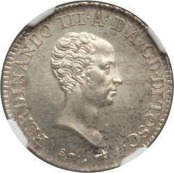 Italy / Italian States Tuscany 1821 1 Lira Silver Coin Ngc Certified Gem Ms65